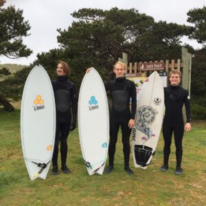 Young Surf Instructors Posing with Surfboards