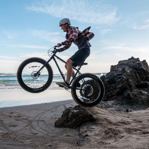 Man Catching Air with Fat Bike